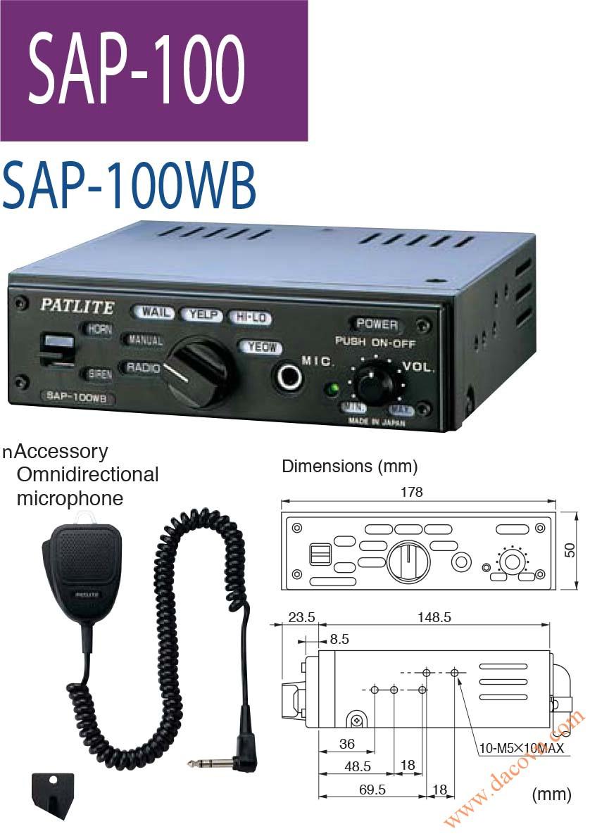 Bộ chọn tạo tín hiệu còi hú xe cảnh sát, cứu thương Patlite: SAP-100WB, đen báo hiệu, đèn tín hiệu, đèn cảnh báo Patlite